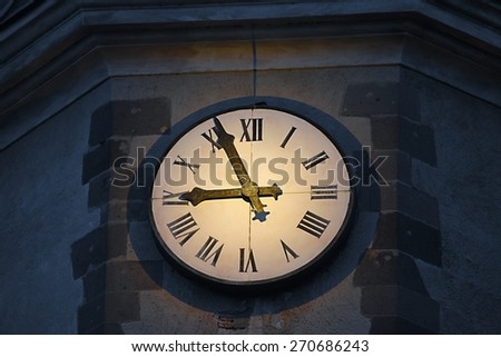 Old rusty clock face detail - stock photo