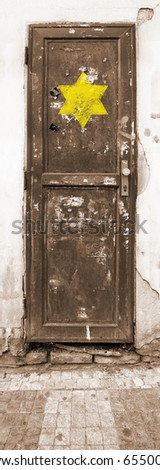 Old rusty, dirty door with a sign Worn Star of David. Allegory of holocaust - stock photo