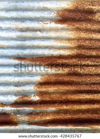 old rusty galvanized iron wall texture - stock photo