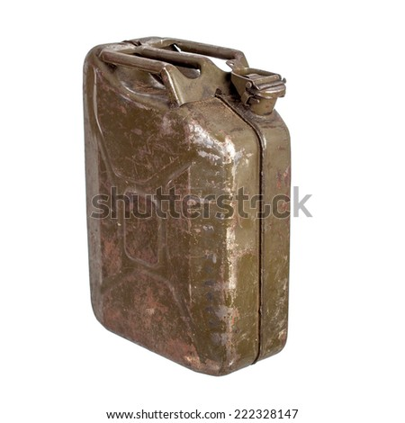 Old rusty gasoline canister isolated on white - stock photo