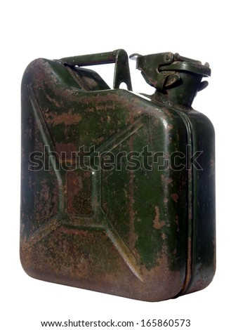 old rusty green canister on white background - stock photo