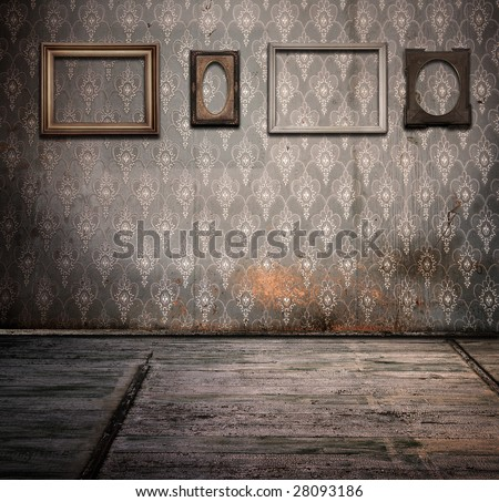 old rusty interior with frames - stock photo