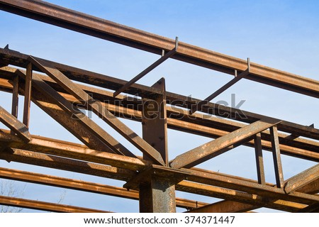 Old rusty iron structure detail - stock photo
