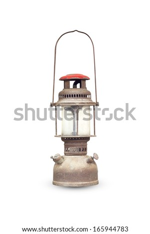 Old rusty lantern isolated on white background. - stock photo
