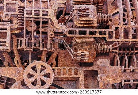 Old rusty mechanical parts, background - stock photo