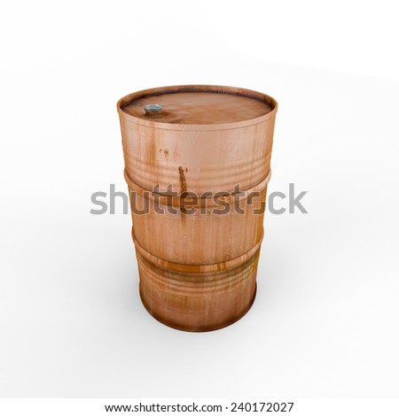 Old rusty metal barrel, isolated on a white background - stock photo