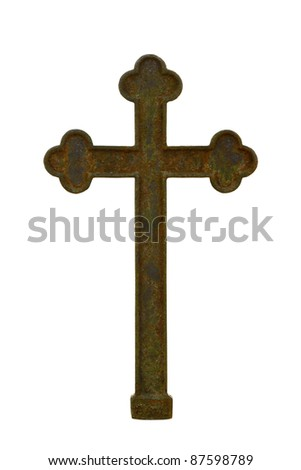 Old rusty metal cross isolated on white - stock photo