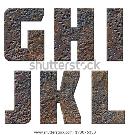 Old rusty metal english alphabet, numbers and signs isolated - stock photo