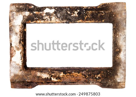 Old rusty metal frame isolated on white background - stock photo