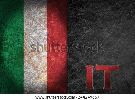 Old rusty metal sign with a flag and country abbreviation - Italy - stock photo