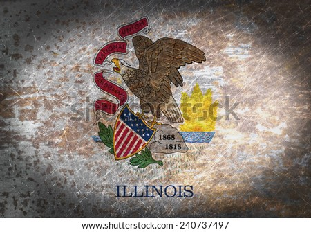 Old rusty metal sign with a flag - Illinois - stock photo