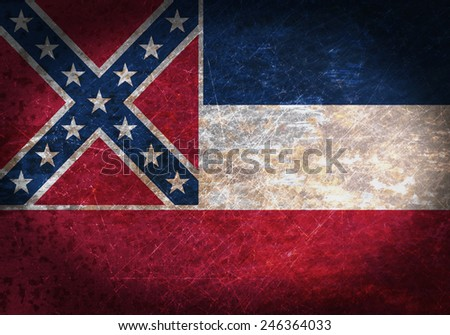 Old rusty metal sign with a flag - Mississippi - stock photo