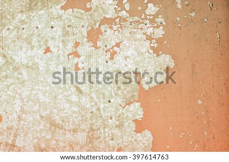 Old rusty metal textured background - cracked pale brown paint on rough metal surface  - stock photo