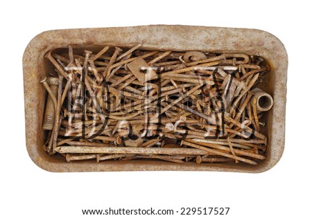 old rusty nails - stock photo
