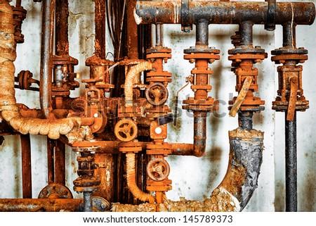 old rusty pipeline closeup - stock photo