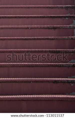 Old, rusty steele stairway - stock photo