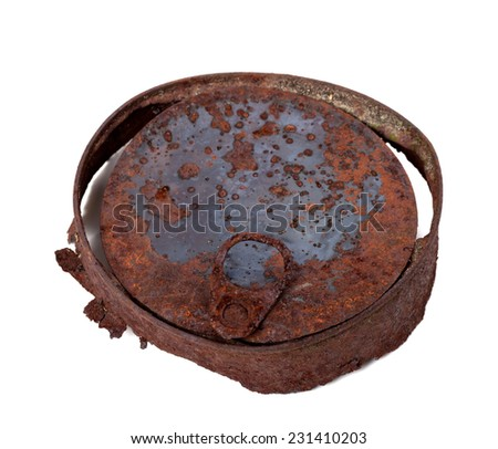 Old rusty tin can isolated on white background. Top view - stock photo
