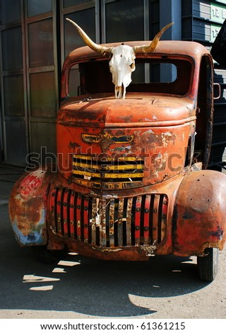Old rusty truck. - stock photo