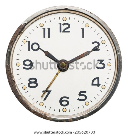 Old rusty vintage clock, isolated on white - stock photo