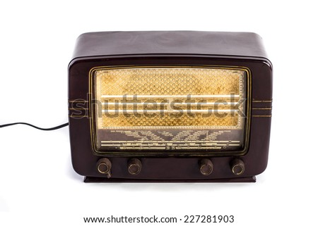 Old 30�´s radio isolated on white background - stock photo