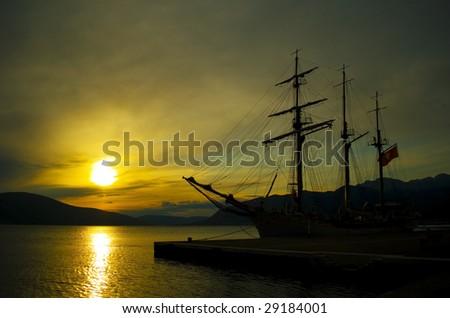 old sail ship - stock photo