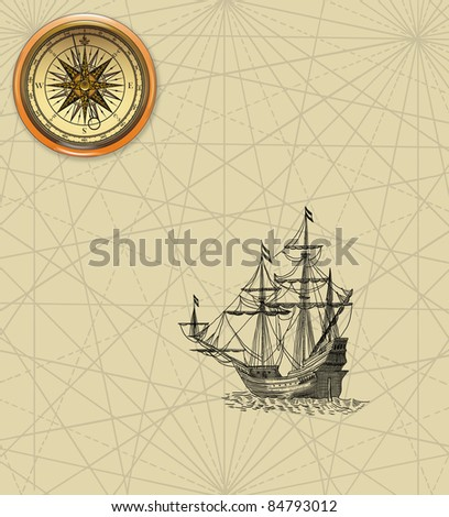 Old sailboat and compass rose - stock photo