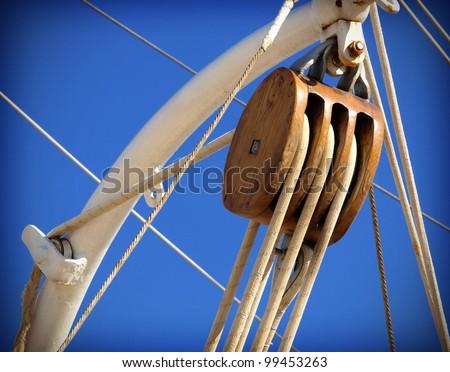 old sailing boat detail - stock photo