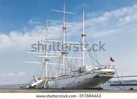 old sailing ship Gorch Fock - stock photo