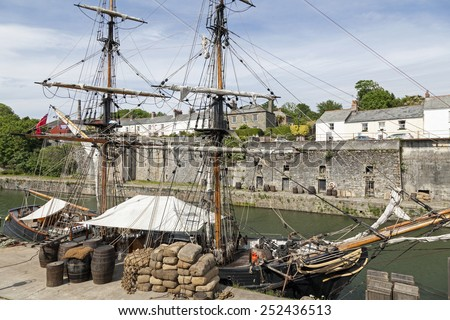 Old sailing vessel in the harbor of Charlestown, Cornwall - stock photo