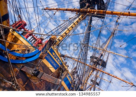 Old sailship - stock photo