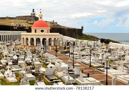 Old San Juan cemetery Cementerio de Santa Maria Magdalena de Pazzis, Puerto Rico - stock photo