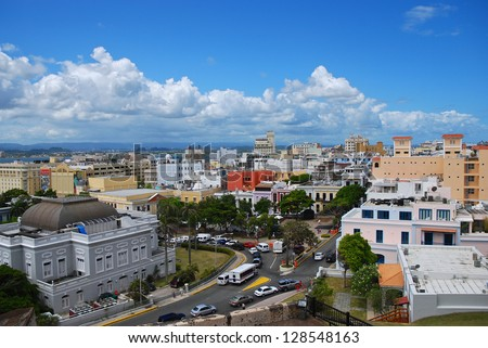 Old San Juan Rooftops - a wide angle view of Old San Juan from the top of a fort - stock photo