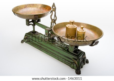 Old scale with weights - stock photo