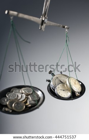 old scales with money and hours on plates, concept time is money - stock photo