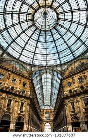 Old scenic galeria in Milan, Italy - stock photo