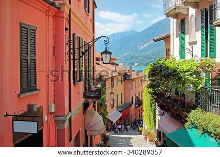 Old scenic streets in Bellagio, Como lake, Italy. - stock photo
