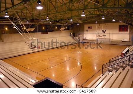 Old school basketball court gymnasium - stock photo