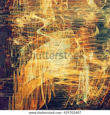 Old school frame or background with grungy textured elements and different color patterns: yellow (beige); brown; green; red (orange); gray; purple (violet) - stock photo