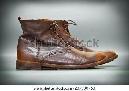old-school leather shoes brown. fashion trend, Italian handmade shoes. Vintage style - stock photo