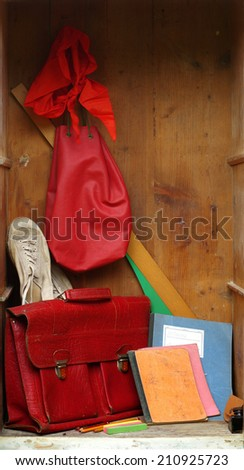 old school lockers - stock photo