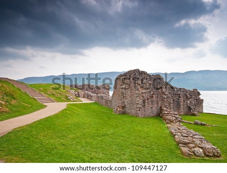 Old Scottish castle at Loch Ness - stock photo