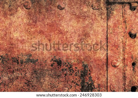 Old, scrapped, badly corroded river raft hut floater riveted metal surface, covered with cracked decomposed layers of tar, paint and rust. - stock photo