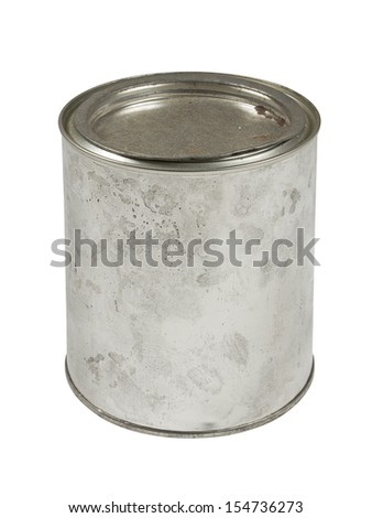 Old scratched and closed paint can isolated on white - stock photo