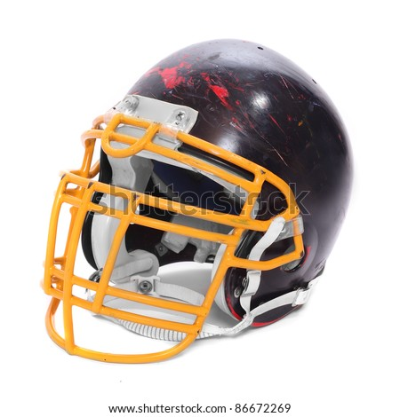 Old scratched football helmet on a white background. - stock photo