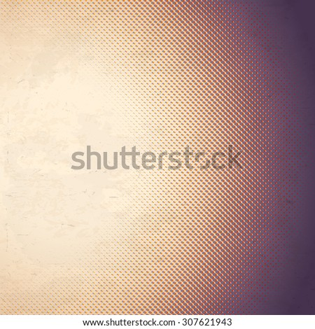 Old scratched paper card with halftone gradient - stock photo