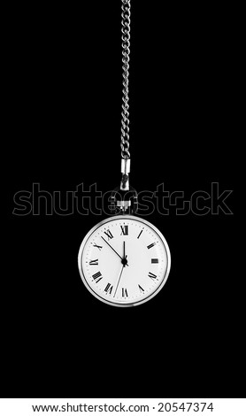 Old scratched watch on dark background - stock photo