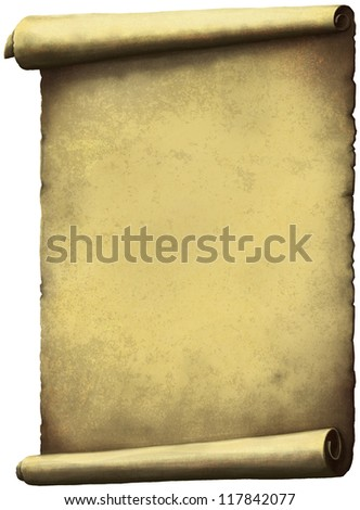 Old Scroll paper expanded vertically isolated on white. - stock photo