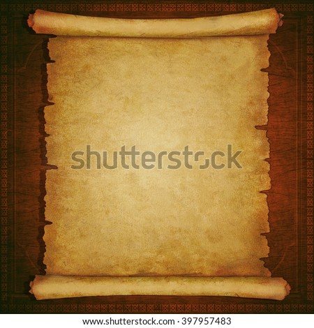 Old scroll paper on vintage wooden background  - stock photo