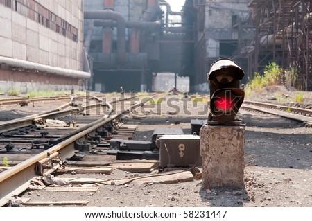 Old semaphore - stock photo
