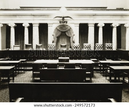 Old Senate Chamber was used by the Supreme Court from 1860 until 1935, as photographed in 1935. - stock photo